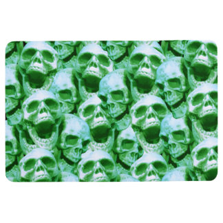 Green Skulls Floor Mat