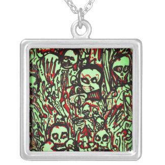 Green Skulls Square Pendant Necklace