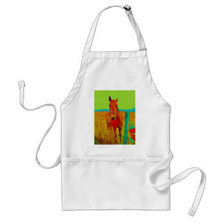 Green sky , red bow Horse : add name Aprons