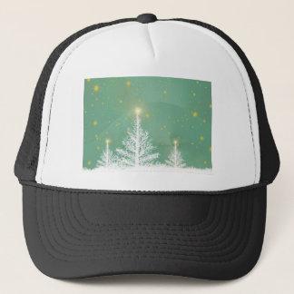 Green Sky White Snowy Christmas Trees Trucker Hat