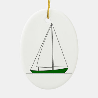 Green Sloop Sailboat Ceramic Oval Decoration