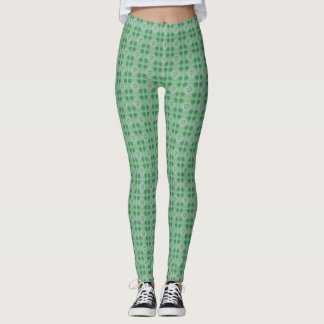 Green small clover pattern leggings