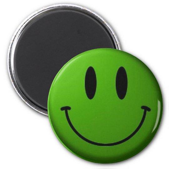 Green Smiley 6 Cm Round Magnet