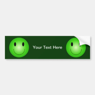 Green Smiley Bumper Sticker