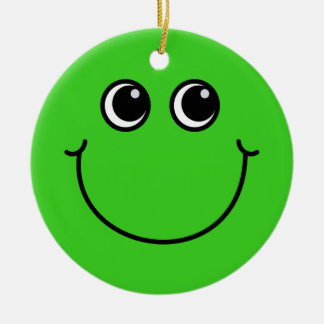 Green Smiley Face Christmas Ornament