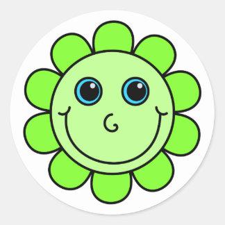 Green Smiley Face Flower Round Sticker