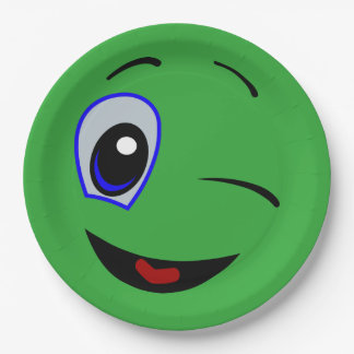 Green Smiley Face Laugh Emoticon Birthday Party 9 Inch Paper Plate