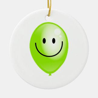 Green Smilie Balloon Christmas Ornament