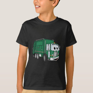 Green Smiling Garbage Truck Cartoon T-Shirt
