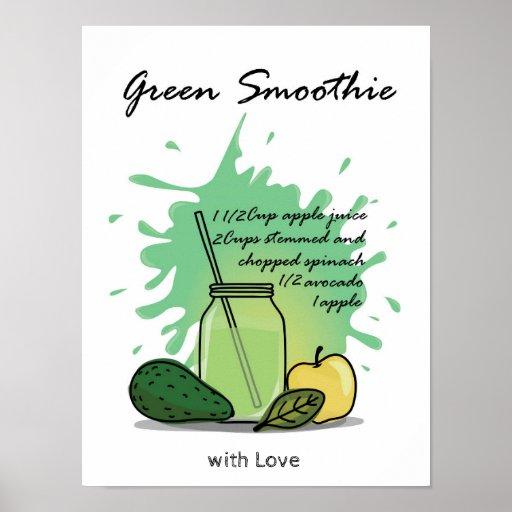 Green smoothie recipe design poster