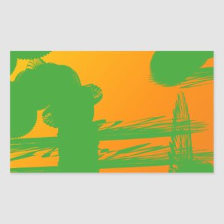 green smudges in orange rectangular sticker