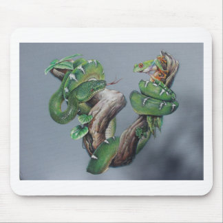 Green Snake and Frog Mouse Pad