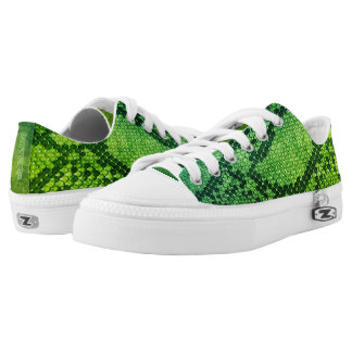 Green Snake skin style Low Top Shoes