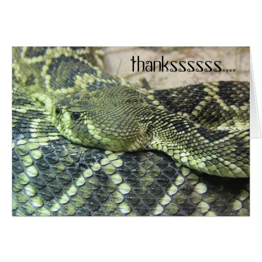 Green Snake Thank You notes, personalise text Card