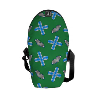 Green snowboard pattern courier bags