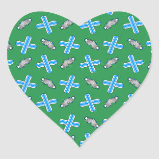 Green snowboard pattern heart sticker