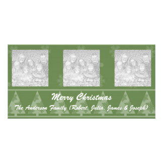 Green Snowflake and Christmas Trees Photo Cards