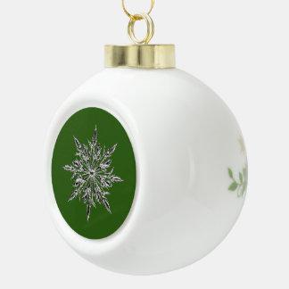 Green Snowflake Ceramic Ball Ornament