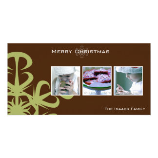 Green snowflake christmas photcard customized photo card