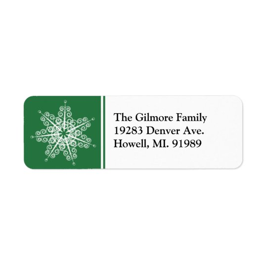 Green Snowflake Christmas Return Address Labels