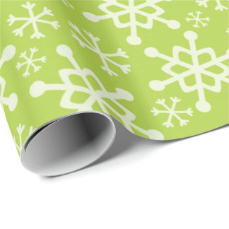 Green snowflake Christmas wrapping paper