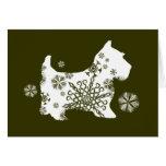 Green Snowflake Dog Holiday Greeting Card