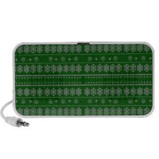 Green snowflake pattern speakers