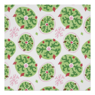 Green Snowflakes and Red Diamonds Retro Christmas Poster