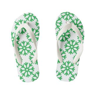 Green Snowflakes Flip Flops