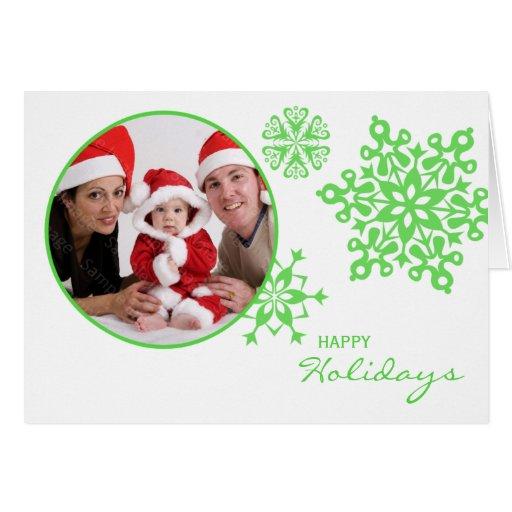 Green Snowflakes Folded Photo Christmas Card