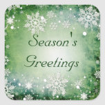 Green Snowflakes Holiday Stickers