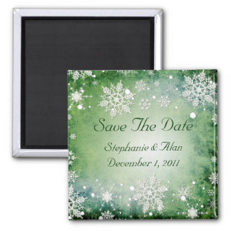 Green Snowflakes Save The Date Magnet