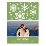 Green Snowflakes Stars Photo Postcard