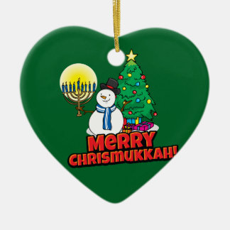 Green Snowman with Menorah Merry Chrismukkah Ceramic Heart Decoration