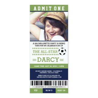 Green Soccer Bachelorette Party Invites