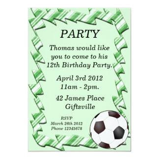 Green Soccer Ball Birthday Party Invitation