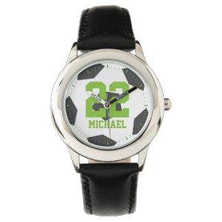 Green Soccer Ball Jersey Number Watch