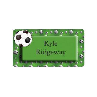 Green Soccer Ball Name Label