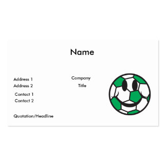 green soccer ball smiley face pack of standard business cards