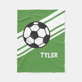 Green Soccer Ball Sports Personalized Name Fleece Blanket
