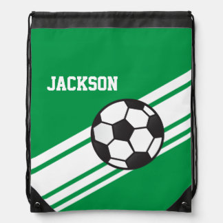 Green Soccer Stripes Drawstring Bag