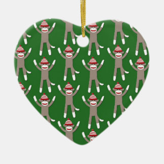 Green Sock Monkey Print Christmas Ornament