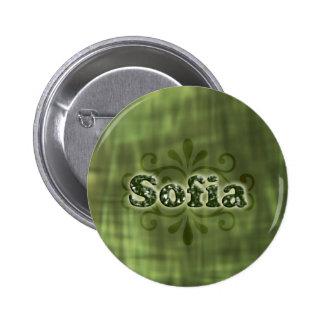 Green Sofia Pinback Buttons