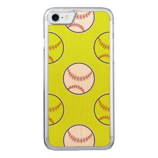 Green Softball Pattern Carved iPhone 7 Case