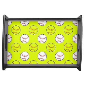 Green Softball Pattern Food Trays