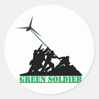 Green Soldier Windmill Classic Round Sticker