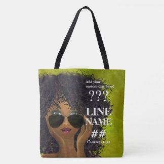 Green Sorority Black Art Tote Bag