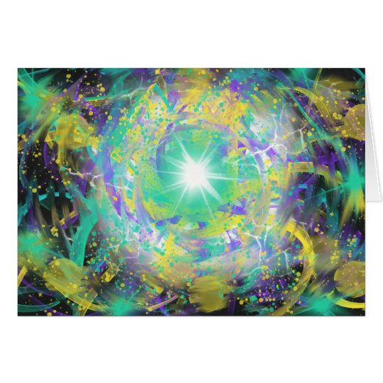 Green Space Star Abstract Art Painting Design Card