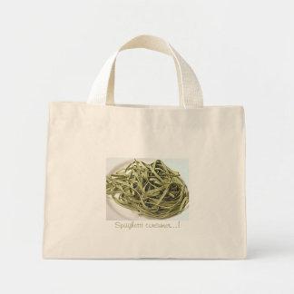 Green spaghetti mini tote bag