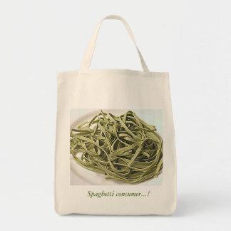 Green spaghetti grocery tote bag